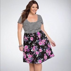 Torrid Striped Floral Dress Size 2X